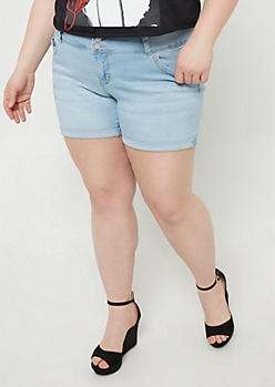 Plus YMI Wanna Betta Butt Light Wash Cuffed Midi Shorts