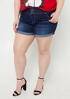 Plus YMI Wanna Betta Butt Dark Wash Cuffed Midi Shorts