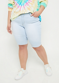 Plus YMI Wanna Betta Butt Extra Light Wash Mid Rise Bermuda Shorts