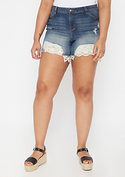 Plus Dark Wash Crochet Hem Jean Shorts