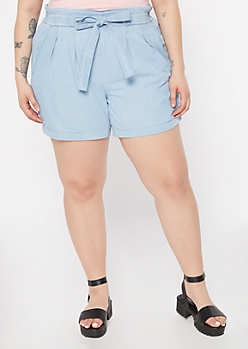 Plus Light Chambray Paperbag Waist Shorts