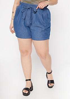 Plus Dark Chambray Paperbag Waist Shorts