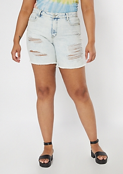 Plus Recycled Throwback Light Wash Bermuda Jean Shorts