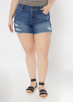Plus Throwback Recycled Dark Wash Frayed Jean Shorts