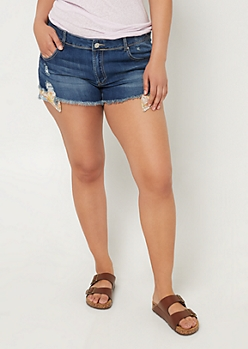 Plus Dark Wash Flower Pocket Jean Shorts