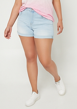 Plus Light Wash Cuffed Jean Shorts