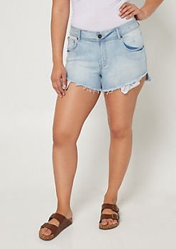 Plus Light Wash Flower Pocket Jean Shorts