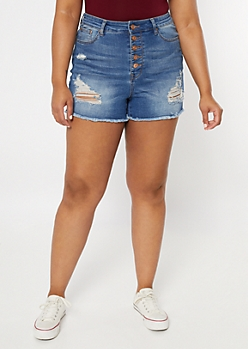 Plus Ultimate Stretch Medium Wash Distressed Button Down Jean Shorts