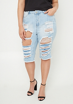 Plus Light Wash High Waisted Ripped Bermuda Shorts