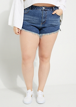 Plus Dark Wash High Waisted Frayed Shortie