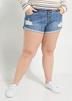Plus Button Up Low Rise Shortie