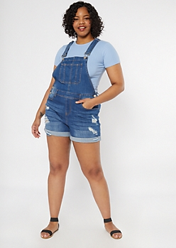 Plus Ultimate Stretch Dark Wash Rolled Jean Overall Shorts