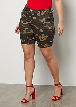 Plus Camo Print Twill Bermuda Shorts