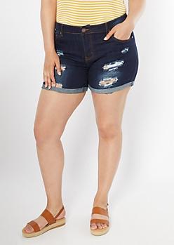 211159d0e1 Plus Dark Wash Distressed Roll Cuff Jean Shorts