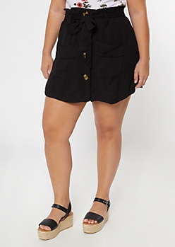 Plus Black Button Front Skort