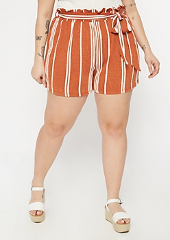 Plus Burnt Orange Striped Paperbag Waist High Rise Shorts