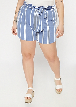 Plus Blue Striped Paperbag Sash High Rise Shorts
