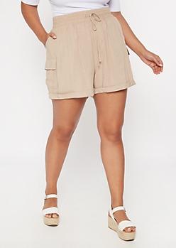 Plus Khaki Cargo Pocket Shorts
