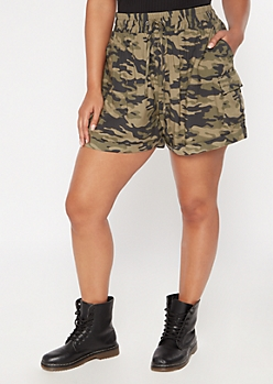 Plus Camo Print Cargo Pocket Shorts