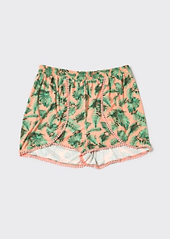 Plus Coral Tropical Palm Print Crochet Trim Shorts