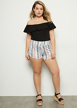 Plus Blue Striped Soft Dolphin Shorts