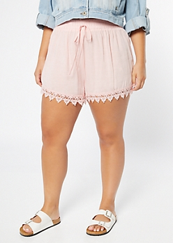 Plus Pink Lace Trim Shorts