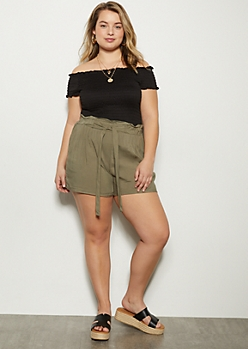 Plus Olive Paperbag High Waisted Shorts