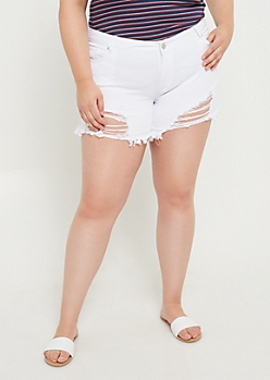 Plus White Frayed Hem Mid Rise Midi Shorts
