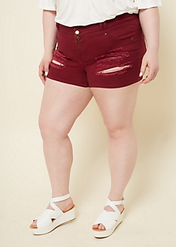 Plus Burgundy Three Button Fly Distressed Shorts