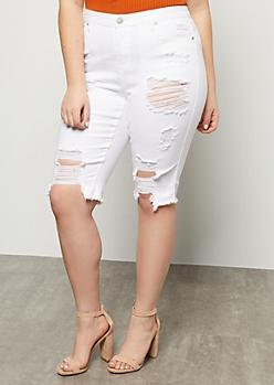 Plus White Destroyed Frayed Bermuda Jean Shorts