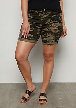 Plus Camo Print Distressed Bermuda Jean Shorts