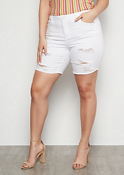 Plus White Destroyed Bermuda Jean Shorts
