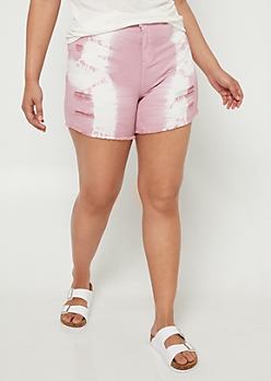 Plus Pink Tie Dye Midi Shorts