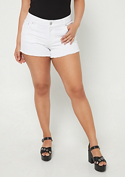 Plus White Denim Shorties