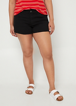 Plus Black Frayed Hem Shorts