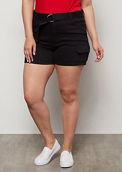Plus Black High Waisted Cargo Shorts