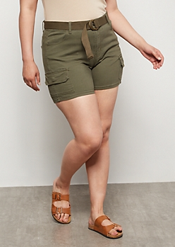 Plus Olive High Waisted Cargo Shorts