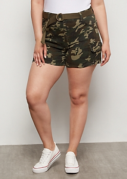 Plus Camo Print High Waisted Cargo Shorts