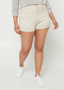 Plus Sand High Waisted Button Front Shorts