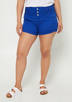 Plus Blue High Waisted Button Front Shorts