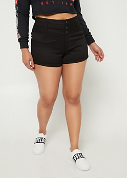 Plus Black High Waisted Button Front Shorts
