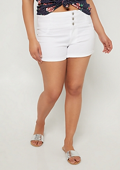 Plus White High Waisted Button Front Shorts