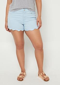 Plus Blue Scalloped Hem Shorts