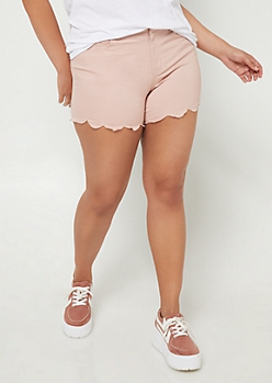 Plus Pink Scalloped Hem Shorts