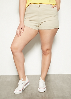 Plus Khaki Rolled Twill Shorts