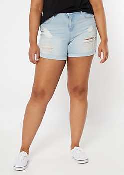 Plus Recycled Light Wash Distressed Midi Jean Shorts