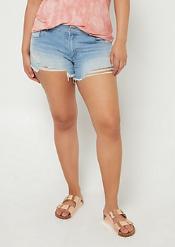 Plus Light Wash Distressed High Low Shorts