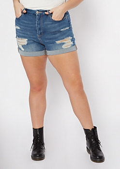 Plus Ultimate Stretch Medium Wash Distressed Curvy Jean Shorts