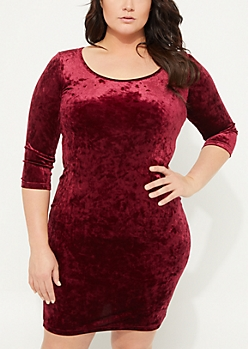 Plus Burgundy Crushed Velvet Bodycon Dress