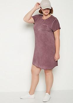 Plus Burgundy Vintage Washed T Shirt Dress
